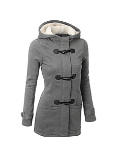 Women's Regular Parka Coat,Casual Daily Solid-Polyester Long Sleeves Hooded