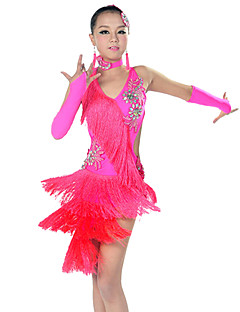 tanie Stroje do tańca latino-Taniec latynoamerykański Outfits Wydajność Poliester Spandeks Frędzel Bez rękawów Ubierać Rękawy Neckwear Nakrycia głowy