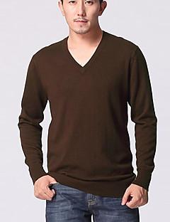 baratos Suéteres & Cardigans Masculinos-Masculino Padrão Pulôver,Casual Trabalho Tamanhos Grandes Sólido Manga Longa Cashmere