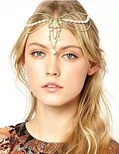 Women Crown Pearl Multilayer Tassel Chain Headband Hair Accessories