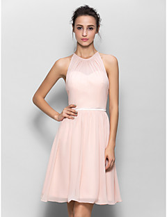 cheap Romance Blush-A-Line Jewel Neck Knee Length Georgette Bridesmaid Dress with Sash / Ribbon Pleats by LAN TING BRIDE®