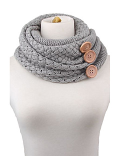 Stylish Big Buttons Embellished Knitted Neck Warmer For Women