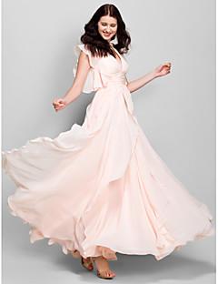 billige Lilla lidenskap-A-linje V-hals Ankellang Chiffon Brudepikekjole med Fallende drapering av LAN TING BRIDE®