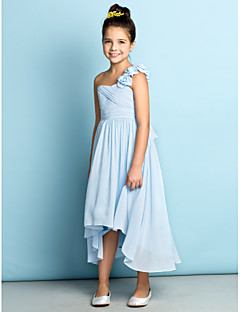 cheap Junior Bridesmaid Dresses-A-Line One Shoulder Asymmetrical Chiffon Junior Bridesmaid Dress with Flower Criss Cross by LAN TING BRIDE®
