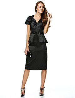billiga Den lilla svarta-Åtsmitande V-hals Knälång Charmeuse Cocktailfest Klänning med Rosett(er) av TS Couture®
