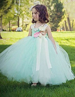 Ball Gown Ankle Length Flower Girl Dress - Tulle Sleeveless Spaghetti Straps with Flower by YDN