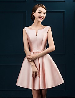cheap Short Bridesmaid Dresses-A-Line Notched Knee Length Satin Bridesmaid Dress with Bow(s) by LAN TING BRIDE®