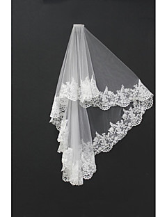 Two-tier Lace Applique Edge Wedding Veil Blusher Veils Shoulder Veils Fingertip Veils With Applique Tulle
