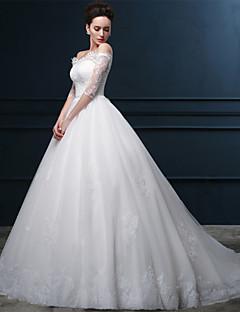 billiga Balbrudklänningar-Balklänning Off shoulder Katedralsläp Satäng / Spets på tyll Bröllopsklänningar tillverkade med Kristall / Spets av LAN TING Express