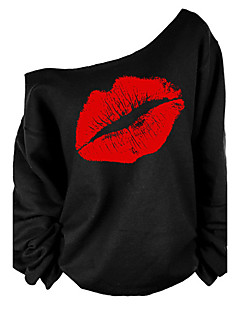 Women's Off The Shoulder Going out Sexy/Street chic T-shirt,Print One Shoulder Long Sleeve Red/White Cotton Medium