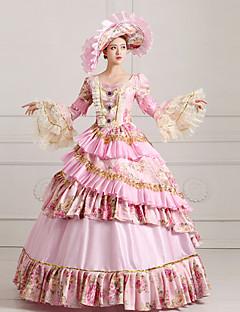billiga Lolitaklänningar-Klassisk / Traditionell Lolita Steampunk® Victoriansk Spets Satin Dam Klänningar Cosplay Långärmad Lång längd Halloweenkostymer
