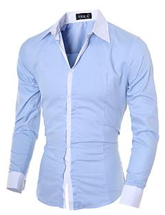billige Herremote og klær-Bomull Tynn Klassisk krage Skjorte - Ensfarget Forretning Herre
