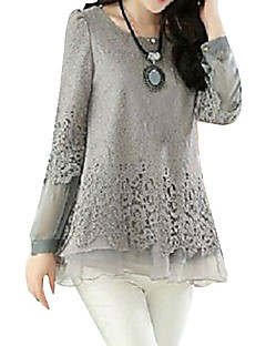 cheap Plus Size Tops-Women's Plus Size Puff Sleeve Cotton Loose Blouse - Solid Colored Lace / Layered