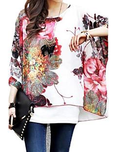 Zian Women's Flower Print Loose Blouse & Vest,Round Neck