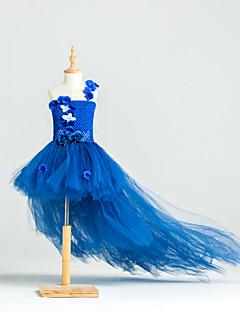 billiga most popular-Balklänning Asymmetrisk Brudnäbbsklänning - Polyester / Tyll / Stretchig satäng Ärmlös Enaxlad med Blomma av LAN TING Express