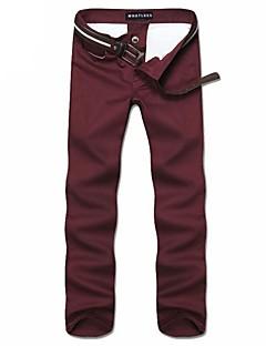 billige Herrebukser og -shorts-Menn Fritid / Plusstørrelse Ensfarget Chinos,Bomull / Polyester Svart / Blå / Grønn / Rød / Grå