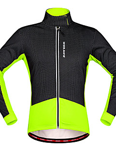 cheap Cycling Jackets-WOSAWE Men's Cycling Jacket Red black / Black / Green Patchwork Bike Winter Fleece Jacket / Top Thermal / Warm Polyester, Fleece Bike Wear