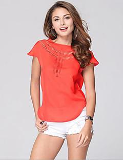 お買い得  レディーストップス-女性用 すかしカット プラスサイズ Tシャツ ソリッド ポリエステル