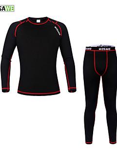 billige Sett med sykkeltrøyer og shorts/bukser-WOSAWE Langermet Underplagg til sykling - Svart/Rød Sykkel Tights Jersey Klessett, Hold Varm