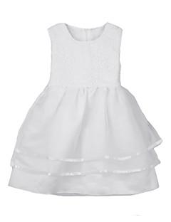Kız Solid Polyester Tüm Mevsimler Beyaz Elbise
