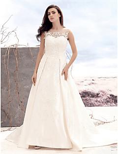 billiga A-linjeformade brudklänningar-A-linje Scoop Neck Hovsläp Satäng / Tyll Bröllopsklänningar tillverkade med Applikationsbroderi / Knapp av LAN TING BRIDE®