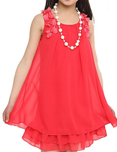 Girl's Solid Dress Summer Sleeveless Floral Pink Watermelon