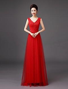 花嫁介添人ドレス床長レース - qqcブライダルによる刺繍付きシース/コラムVネック