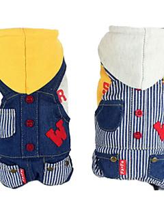 billiga Hundkläder-Hund Huvtröjor Jumpsuits Jeansjackor Hundkläder Rand Jeans Vit Gul Cotton Ner Kostym För husdjur Herr Dam Mode