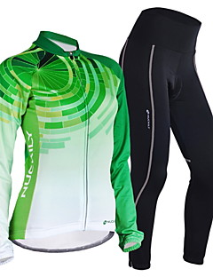 cheap Cycling Clothing-Nuckily Women's Long Sleeves Cycling Jersey with Tights - Green Geometic Bike Jersey Clothing Suits, Quick Dry, Anatomic Design,