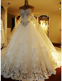 cheap Wedding Dresses-A-Line Sweetheart Cathedral Train Lace Over Tulle Custom Wedding Dresses with Beading by LAN TING Express