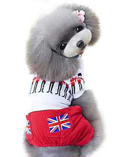 billiga Hundkläder-Hund Jumpsuits Hundkläder Landsflagga Brittisk Röd Cotton Kostym För husdjur Herr Dam Mode