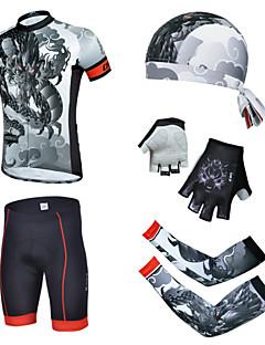 billiga Cykling-cheji® Herr Kortärmad Cykeltröja med shorts - Svart Cykel Shorts / Tröja / Vadderade shorts, Andningsfunktion, 3D Tablett, Snabb tork, UV-Resistent, Vinter Drake / Elastisk / Klädesset