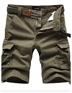 billige Herrebukser og -shorts-Herre Fritid Uelastisk Rett Shorts Bukser, Mellomhøyt liv Bomull Akryl Ensfarget Sommer