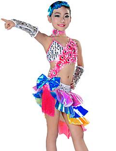 billige Nyheter-Latin Dans Drakter Barne Yteevne Polyester 5 deler Kjole Ermer Nakkeklær Hodeplagg