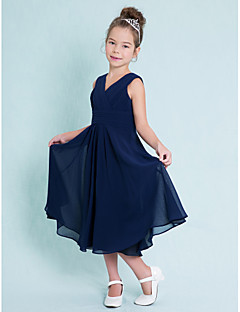 cheap Junior Bridesmaid Dresses-A-Line V Neck Tea Length Chiffon Junior Bridesmaid Dress with Ruched Criss Cross by LAN TING BRIDE®