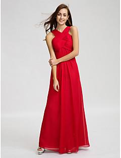 זול -מעטפת \ עמוד צווארון וי עד הריצפה שיפון שמלה לשושבינה  עם תד נשפך בד בהצלבה סלסולים על ידי LAN TING BRIDE®