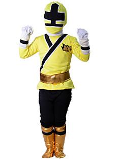 baratos Fantasias de Crianças-Power Rangers Fantasias de Cosplay Cosplay de Filmes Amarelo Blusa Luvas Cinto Mais Acessórios Dia Das Bruxas Ano Novo Poliéster