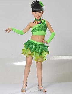 tanie Dziecięca odzież do tańca-Spektakl Stroje Spektakl Spandeks Cekin Bez rękawów Dropped Top / Spódnica / Rękawy