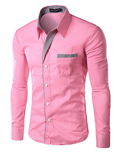cheap Dress Shirts-Men's Work Business Plus Size Slim Shirt - Solid Colored Basic Classic Collar / Long Sleeve / Spring / Fall