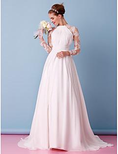 billiga A-linjeformade brudklänningar-A-linje Prydd med juveler Svepsläp Chiffong / Genomskinlig spets Bröllopsklänningar tillverkade med Applikationsbroderi / Draperad / Spets