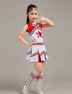Fantasias para Cheerleader Roupa Crianças Actuação Poliéster Plissado 2 Peças Sem Mangas Alto Blusa Saia