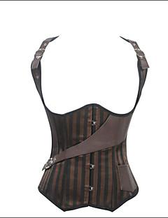 お買い得  ファッションランジェリー-オーバーバストコルセット ナイトウエア レディース ナイロン / ポリエステル / スパンデックス ゼブラプリント ブラウン 婦人向け