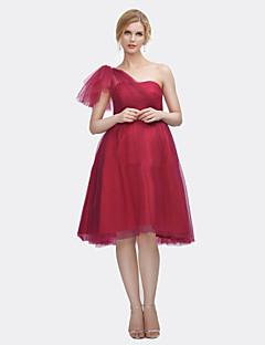 ライン1つの肩の膝の長さサテンチュールウェディングドレスとドレスアップxiangyouyayi
