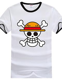 """billige Anime Kostymer-Inspirert av One Piece Monkey D. Luffy Anime  """"Cosplay-kostymer"""" Cosplay T-skjorte Trykt mønster Kortermet T-Trøye Til Herre Dame"""
