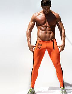 billiga Träning-, jogging- och yogakläder-Herr Tights för jogging / Gymleggings - Orange, Grön sporter Mode Kompressionskläder Sportkläder Snabb tork, Fuktgenomtränglighet, Hög