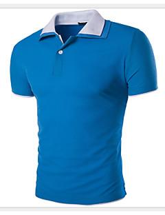 男性用 半袖 ポロシャツ,コットン / ポリエステル カジュアル / プラスサイズ カラーブロック