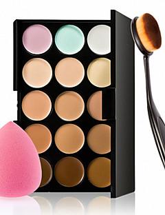 kapatıcı fondöten allık için 15 renk kontur yüz kremi makyaj kapatıcı paleti + sünger puf toz fırçası