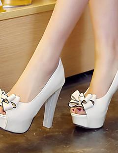 Kadın Ayakkabı Yapay Deri Bahar Yaz Sonbahar Kalın Topuk Platform Günlük Elbise için Fiyonk Beyaz Siyah Kırmzı
