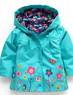 Girls' Floral Down & Cotton Padded,Cotton Winter Long Sleeve Floral Cartoon Purple Emerald Green Pink