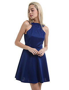 Bayanlar Kayakçı Seksi / Parti Elbise Solid Mini Askılı Pamuklu / Keten / Diğer